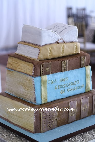 History Of Cake Decorating Books : A Cake To Remember VA: Stack of Books Wedding Cake