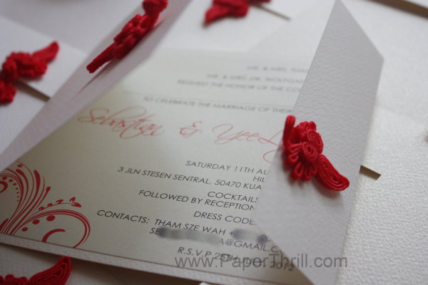 Red asian floral wedding invitation card