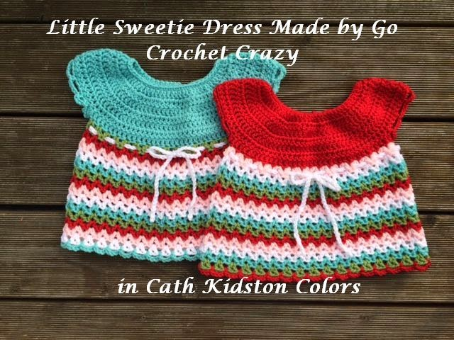 Redheart Little Sweetie Dress made by Go Crochet Crazy using Cath Kidston inspired colors