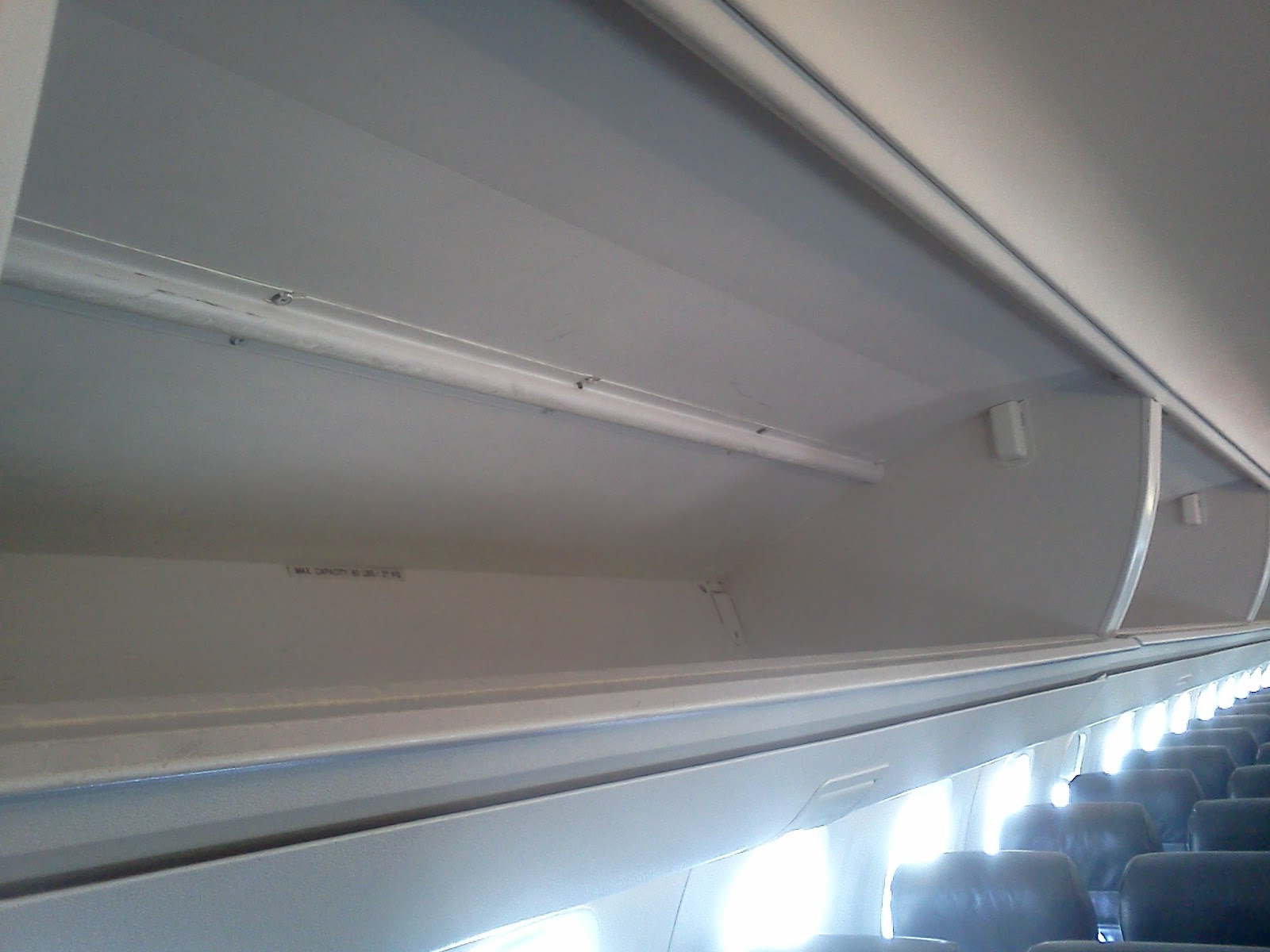 American Eagle Airlines Overhead Bin for Carry On Baggage Stowage