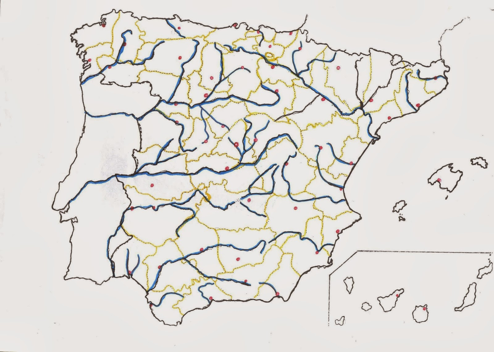 Mapa Mudo Espaa Rios Imprimir
