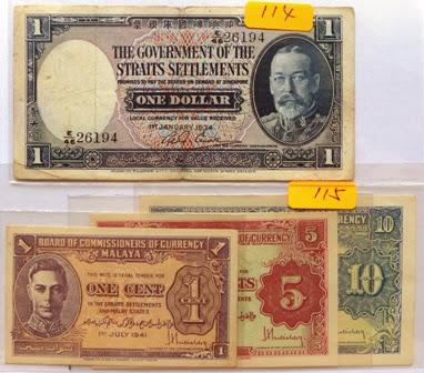 Malaya 1 Cent, 5 Cents & 10 Cents 1941