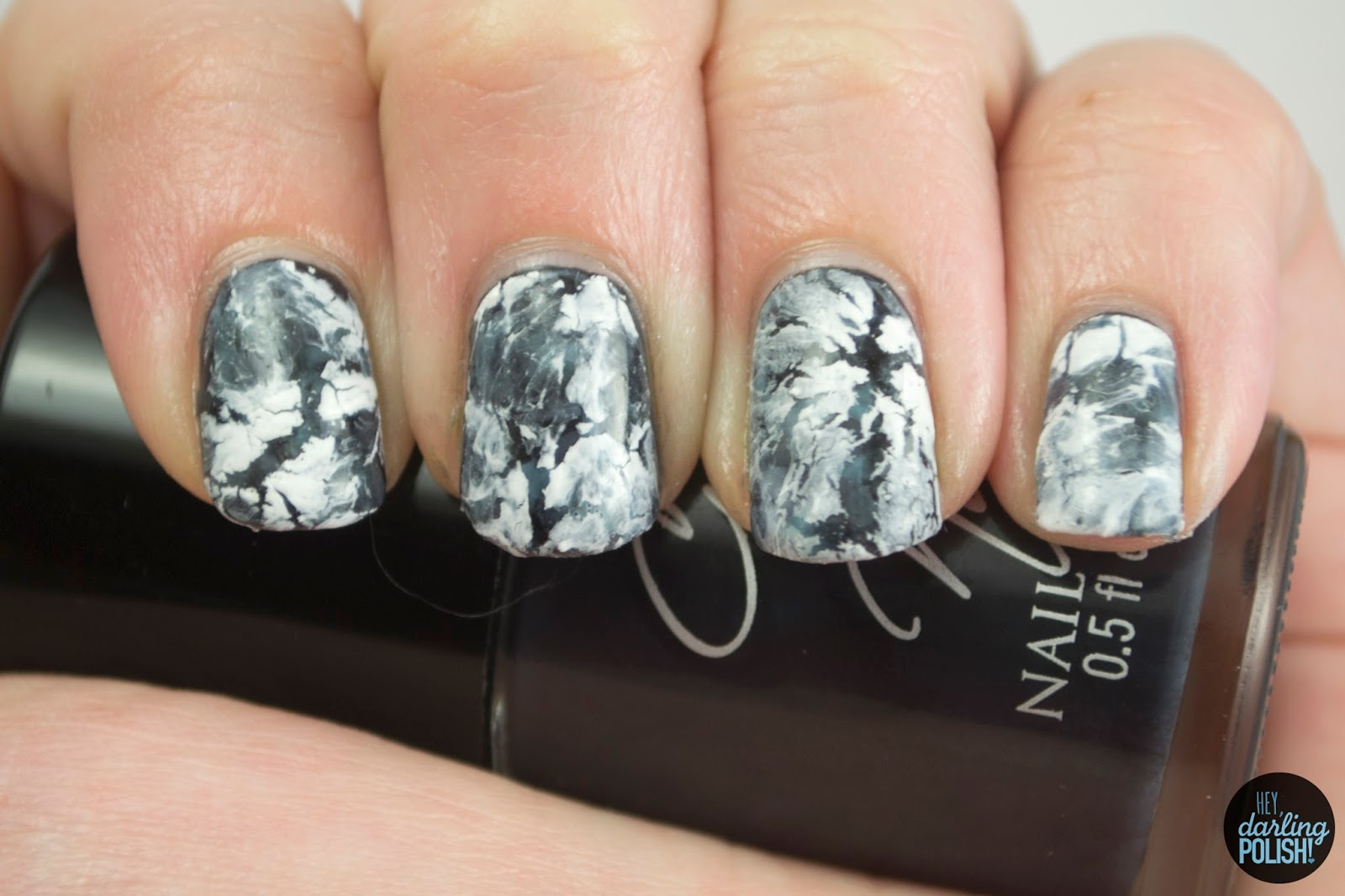 nails, nail art, nail polish, polish, white, black, hey darling polish, crackle, water spotted
