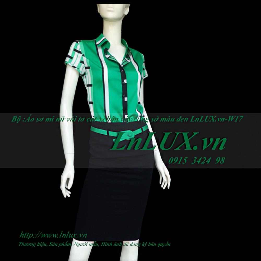Bộ: áo sơ mi nữ vải tơ cát và chân váy công sở LnLUX.vn-W17