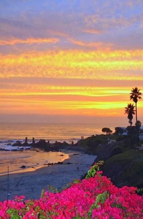 Sunset in Rosarito, Baja California, Mexico.