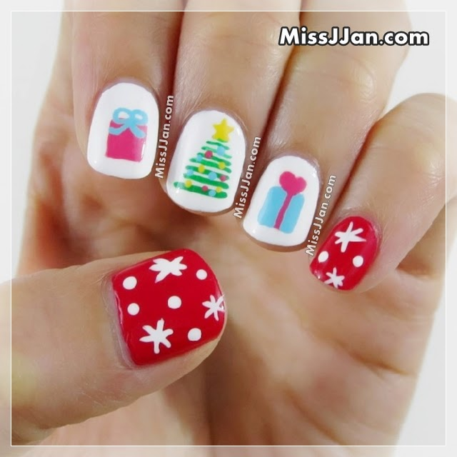 Christmas Nail Art Tutorial Gingerbread Galore: MissJJan's Beauty Blog ♥: Christmas Tree & Presents Nail