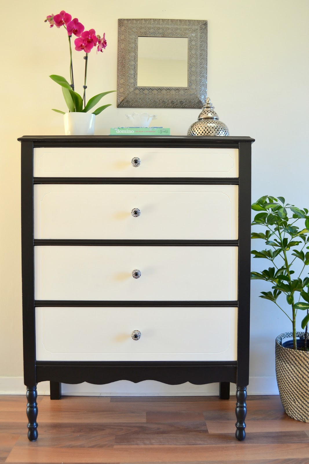 Honey sweet home the tuxedo dresser a black white for Modern black and white furniture