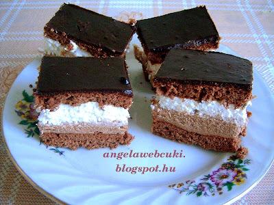 Tejszínes szelet recept, kevert tésztájú, csokoládékrémes és tejszínkrémes, csokoládémázas sütemény.