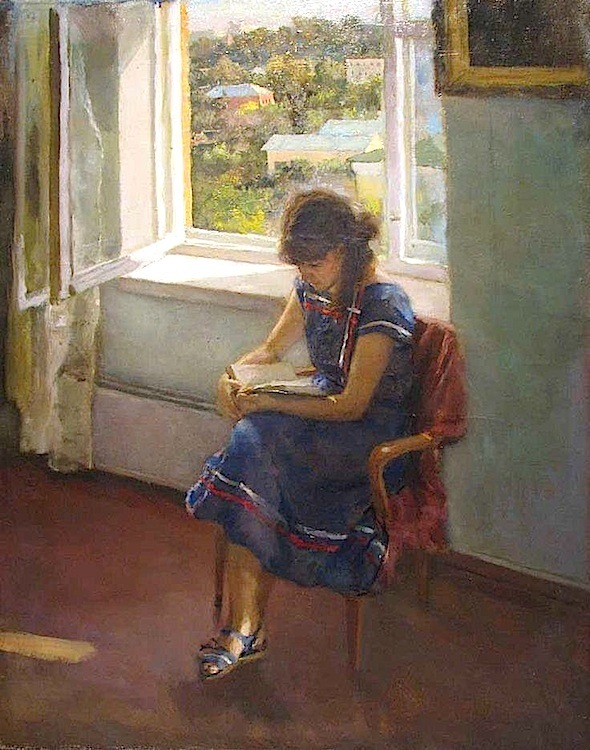 Vladimir Filatov. Portrait of Wife Reading, 1980