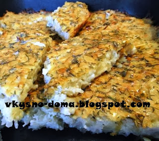 Запеканка из тёртого картофеля,зелени и чеснока