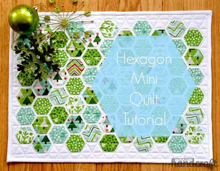 http://modernhandcraft.com/2013/11/hexagon-mini-quilt-tutorial/