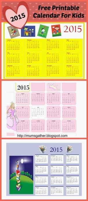 Free Printable Calendar For Kids 2015