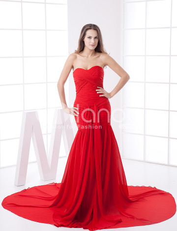 Rouge train en mousseline bretelles Soirée Ladies Dress