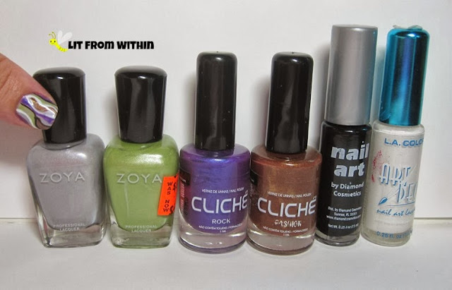 bottle shot:  Zoya Harley, Zoya Tracie, Cliche' Rock & Fashion, and nail art stripers in black and white.