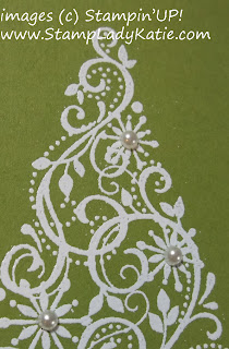 card made with Stampin'UP! stamp set: Snow Swirled and pearls