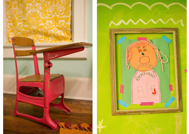 Bright and fun, colorful little girl's room on a budget. Vintage desk and child's self-portrait inside vintage frame