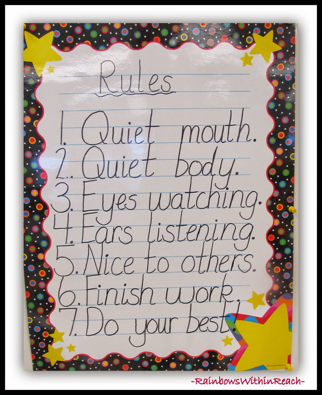 Classroom Rule Chart: Rules RoundUP at RainbowsWithinReach