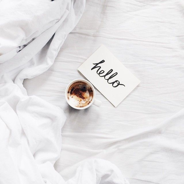 2016 resolutions coffee in bed white sheets hello note