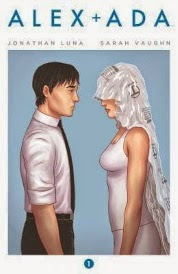 Cover of Alex + Ada Volume One, featuring a pale-skinned man facing a pale-skinned woman. She has a white plastic drop sheet draped over her face and down her back, like a bridal veil.