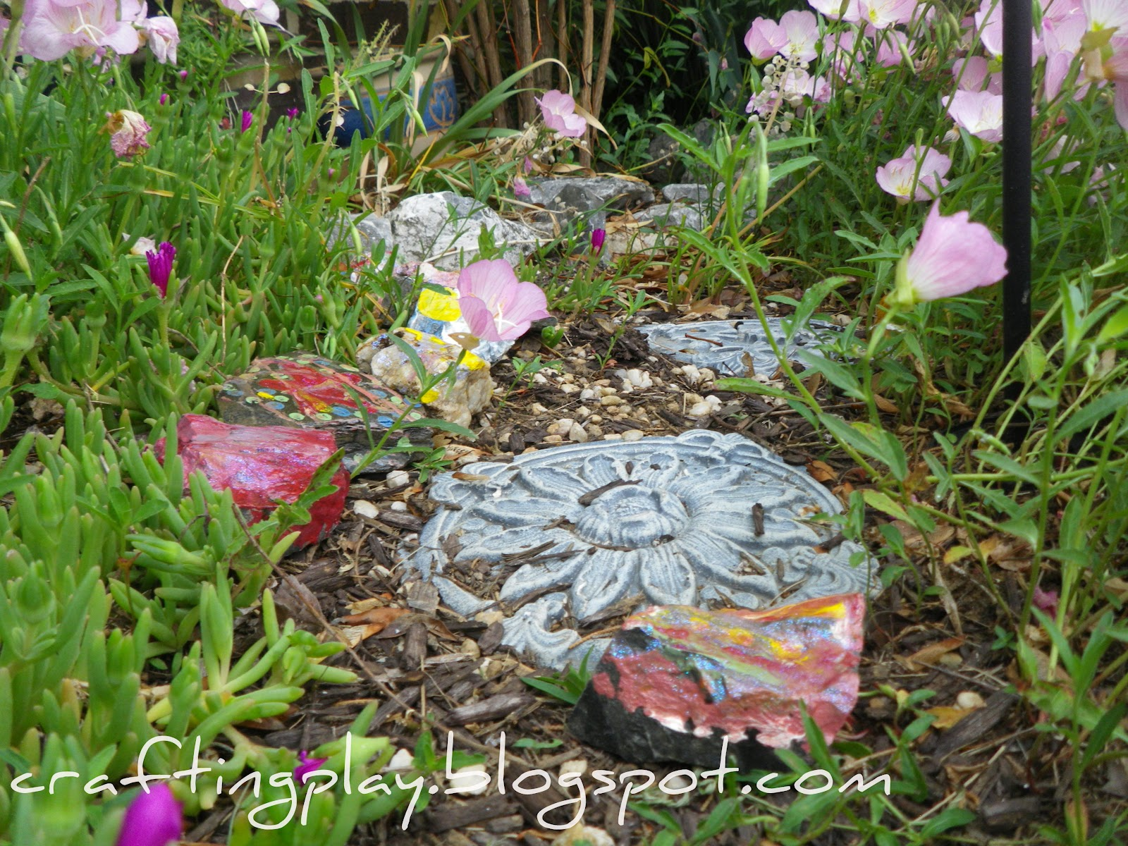 Crafting play painting garden rocks - Painting rocks for garden ...