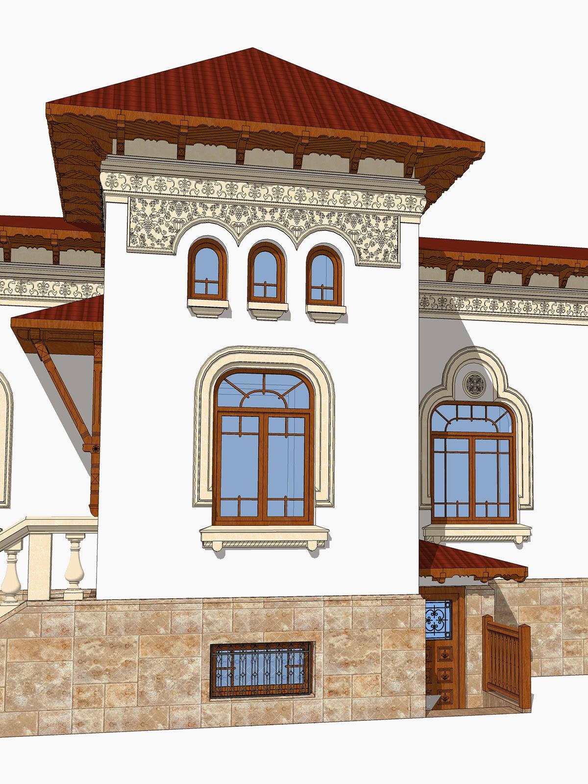 friza neoromaneasca in proiect de fatada casa de arhitect neoromanesc paun