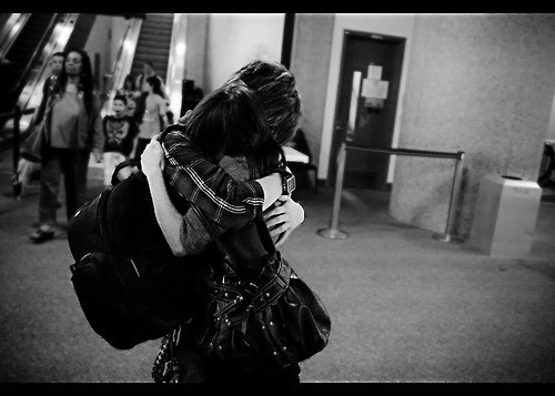 Black and White Couple Hugging Picture