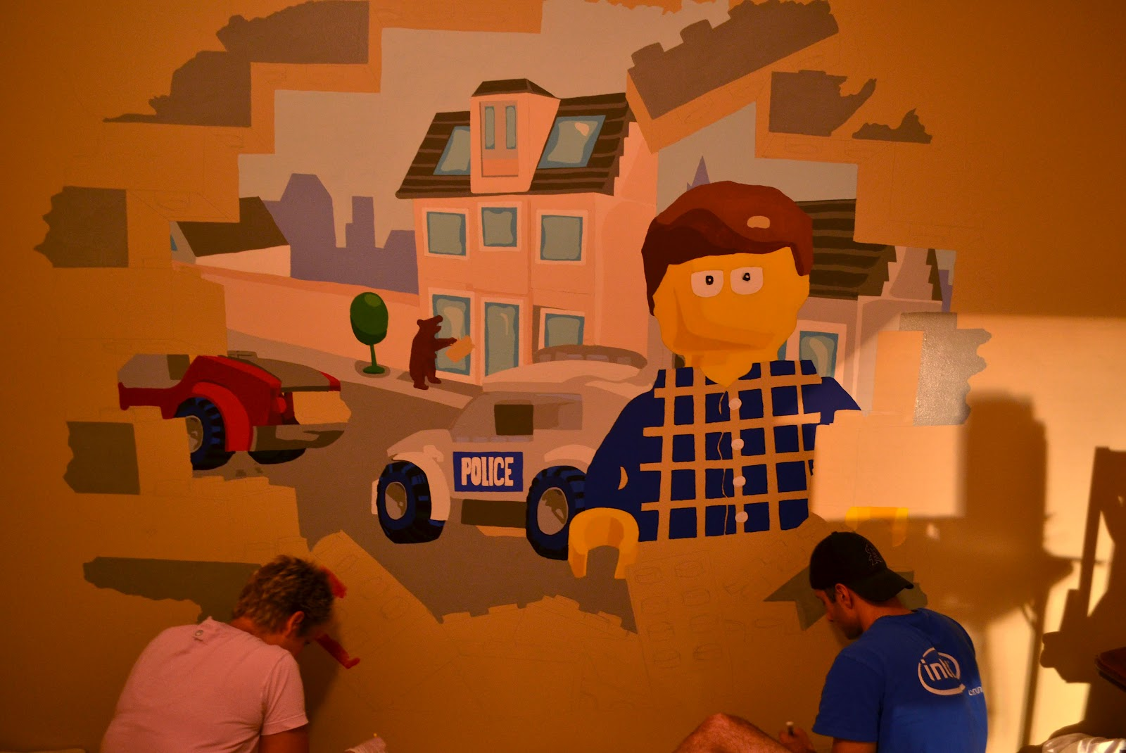heidi schatze lego vaughn the mural when the end of lego week fell into our lap everyone that could paint a straight line was helping i turned it into a paint by number