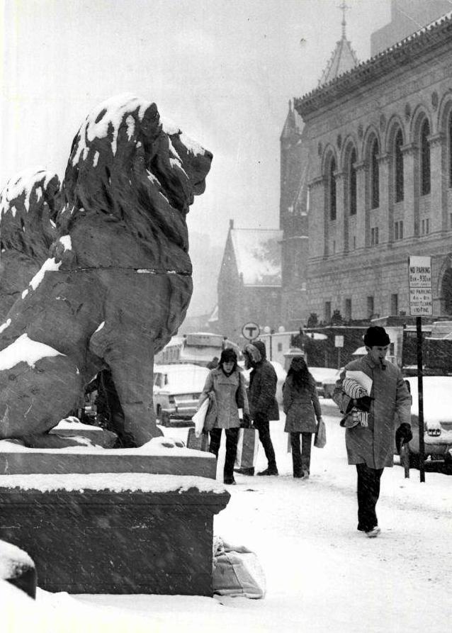 copley square, lions, hotel, boston, snow, boston public library, hotel kensington, fairmont, copley plaza