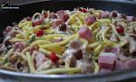 Esparguete fresco com lombo de porco fumado