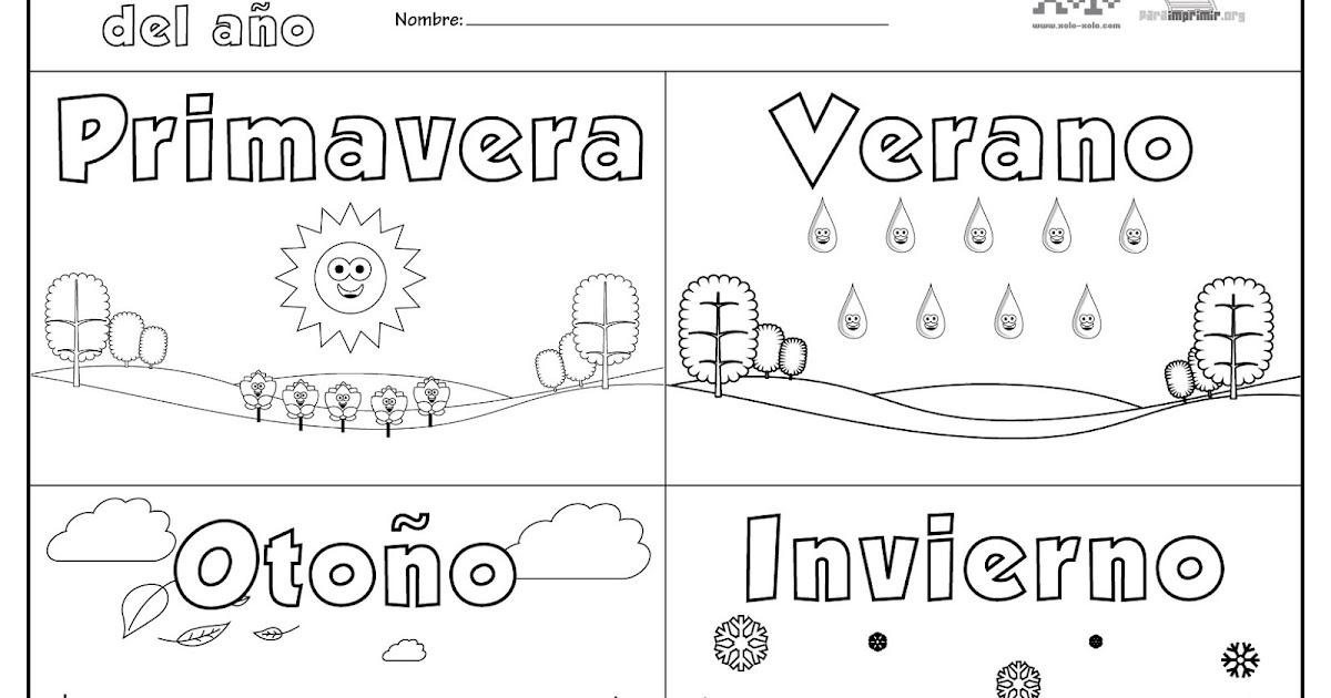 Encantador Páginas Para Colorear De Las Estaciones Viñeta - Dibujos ...