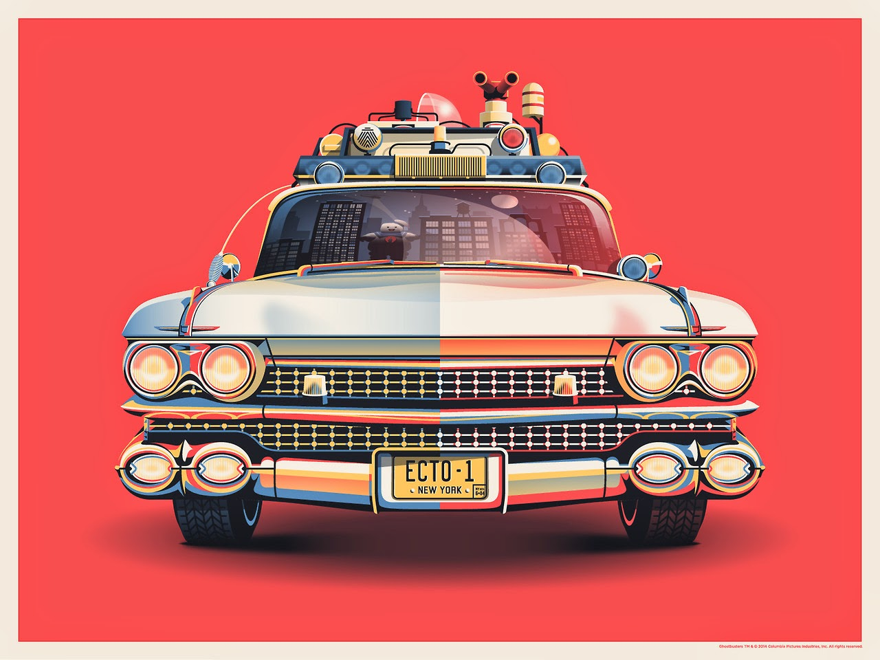 "Gallery1988 Ghostbuster 30th Anniversary ""Ecto-1"" Screen Print by DKNG"