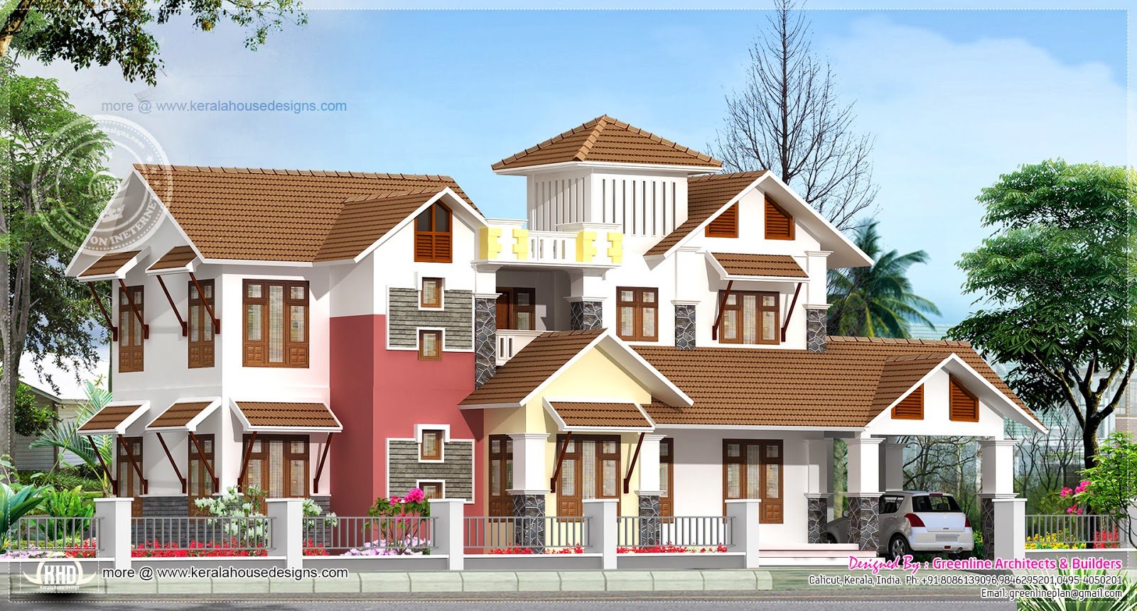 4 Bedroom Kerala Traditional House Elevation With A Modern