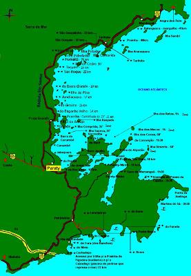 Mapa das praias e acessos a Parati - RJ