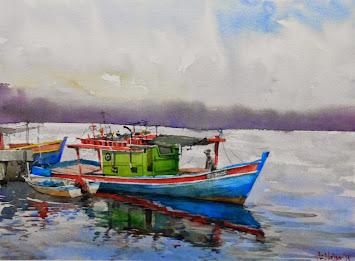 Watercolour: Rehat (Nelayan Kuala Besut)