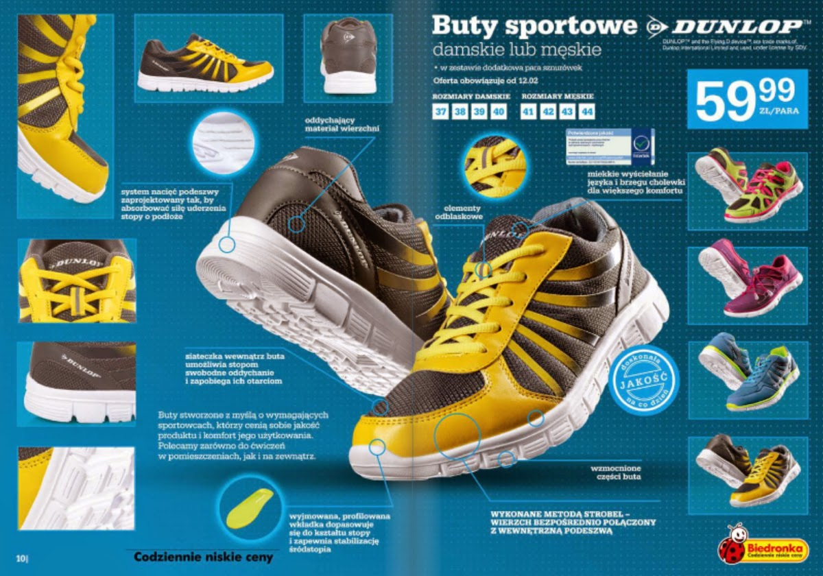 Buty sportowe damskie lub męskie Dunlop z Biedronki ulotka