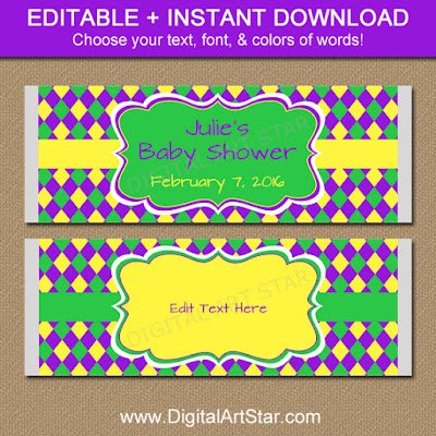 Mardi Gras Baby Shower Candy Wrappers