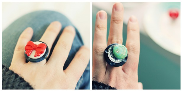 how to make vintage button rings
