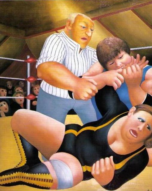 Beryl Cook wrestling