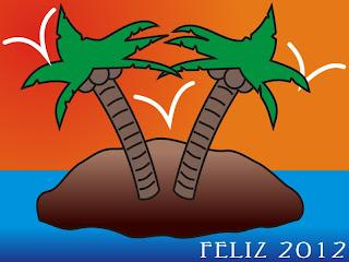 Feliz 2012 em uma ilha deserta (desenho)