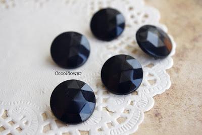 bouton vintage noir à facette - www.cocoflower.net