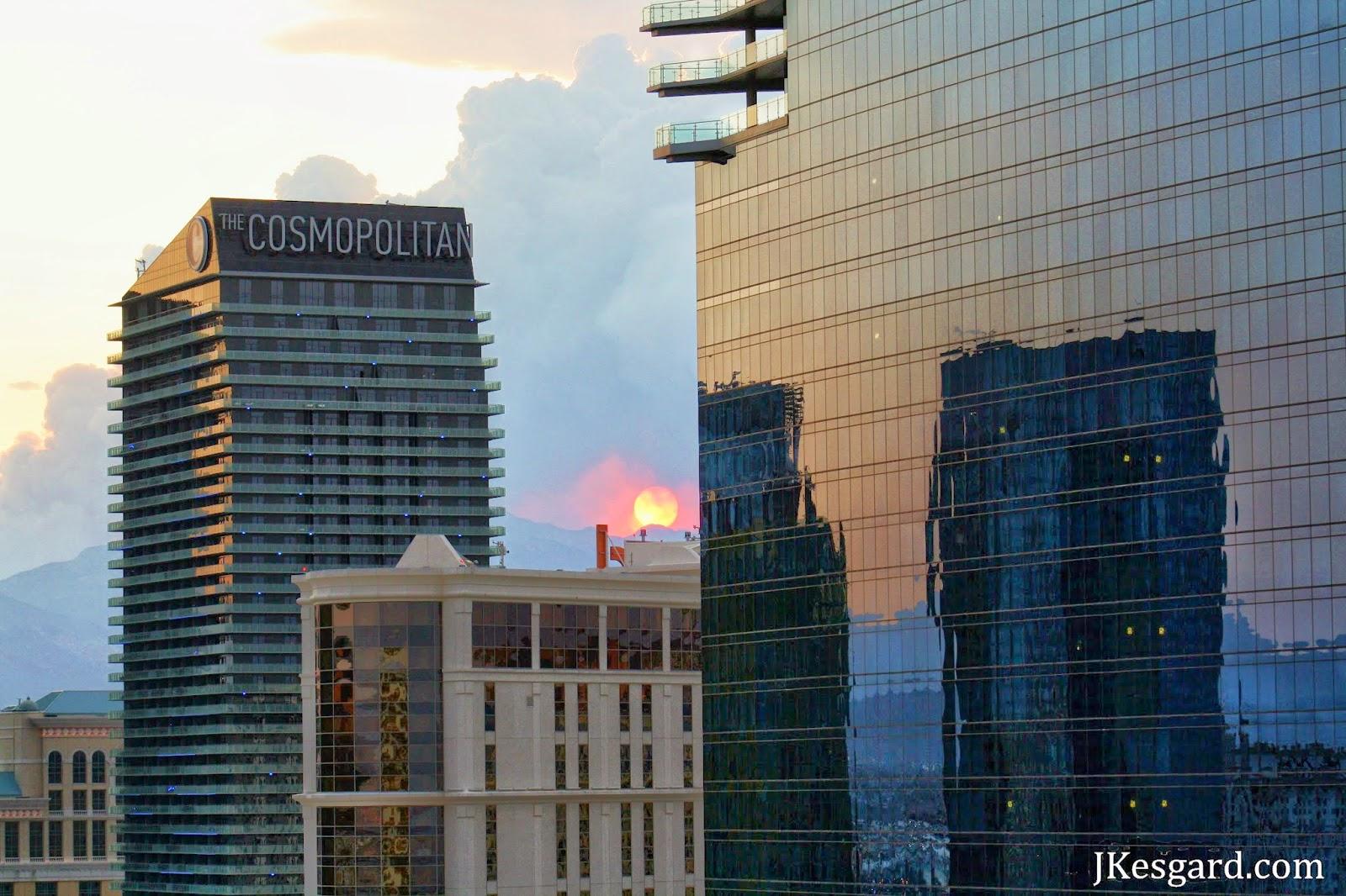 Sun behind smoke at Las Vegas sunset
