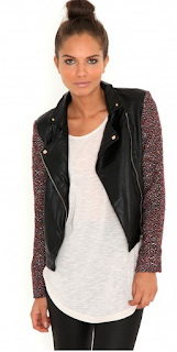 Nesmin Red Tweed Sleeve Leather Jacket