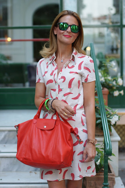 Chili peppers dress, summer outfit, summer dress, Longchamp red bag, Fashion and Cookies, fashion blog