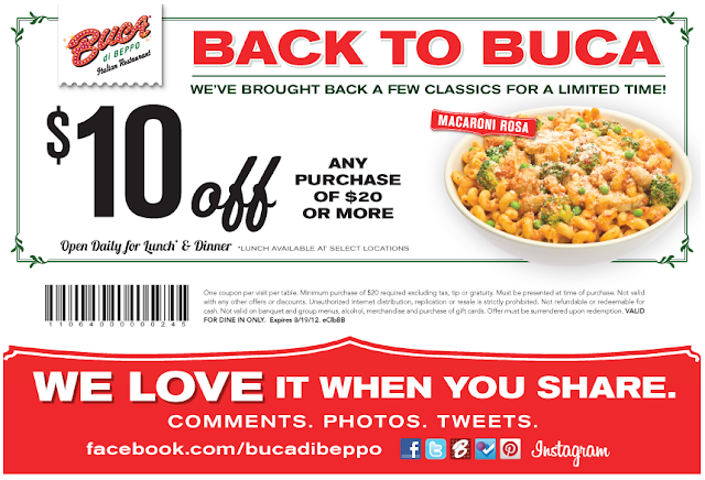 picture regarding Buca Di Beppo Coupons Printable named Selling price Matching Within Idaho: Buca di Beppo Coupon - Touring?