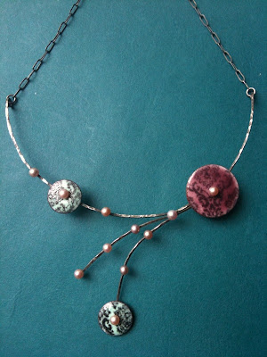 enamel and silver necklace