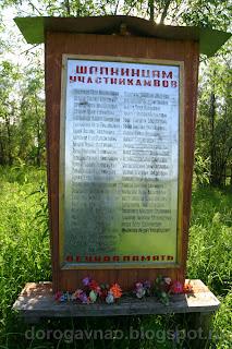 Памятный знак участникам войны, река Шапкина