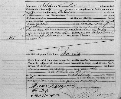 Birth certificate of Hendrik van Kampen, 1877