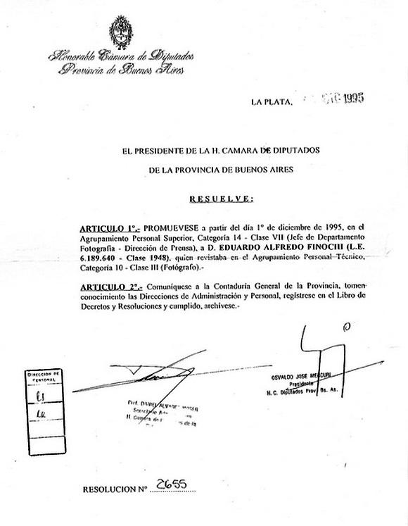 Resolución de presidencia para el nombramiento de E. Finocchi como Jefe Dpto. Fotografía