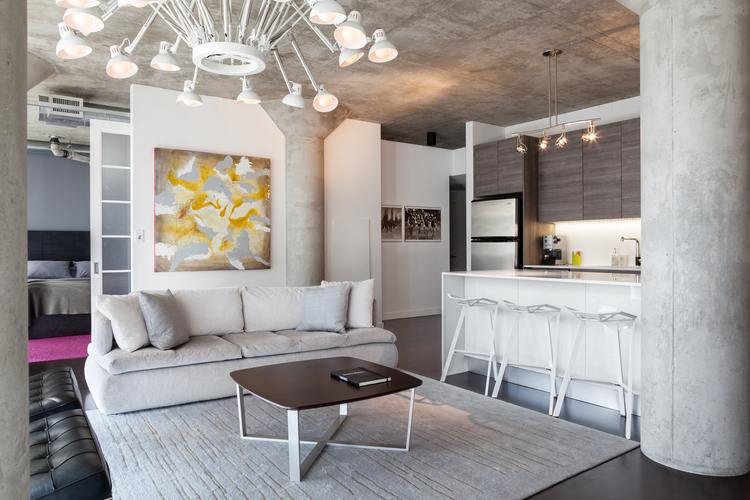 Concrete walls at Toronto loft