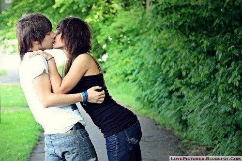 cute, couple, kiss, emo-girl, emo-boy, love